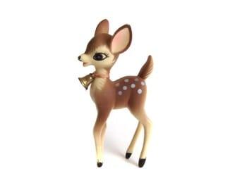 Plastic fawn figurine vintage reindeer christmas decor for Home decor reindeer christmas figurine set