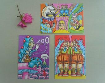 Alice In Wonderland Japanese Psychedelic Postcards, Manabu Sekiya Vintage Pop-Art