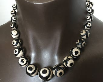 """Etched Agate Necklace 20.5 Inch/Protection from the """"Evil Eye"""""""