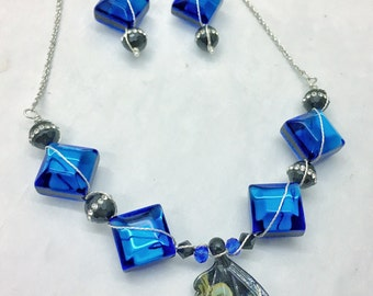 Kim Snider Glasswork Butterfly Wing Necklace &Earring Set, Handmade  Necklace and Earrings, Butterfly Wing, Cobalt Blue, Black, Bib Necklace