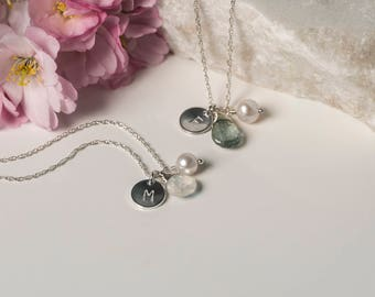 Set of 2 personalized bridesmaid necklaces, bridesmaid gifts, initial necklace with birthstone, 2 monogram necklaces bridesmaid - Ella