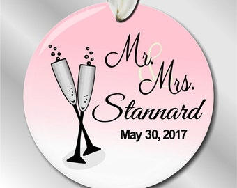Personalized Wedding Gift - Personalized Wedding Christmas Ornament - Wedding Champagne Toast - Couple - Our First Christmas - #108