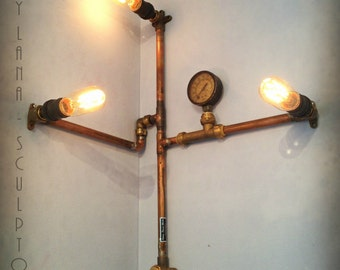 reclaimed industrial lighting. reclaimed copper edison light industrial sculpture steampunk wall lamp karcharos lighting x