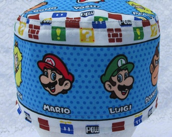 Super Mario Brothers characters scrub hat, chemo hat, cancer cap, chef's hat with a built in terry cloth sweat band.  Handmade in the USA.