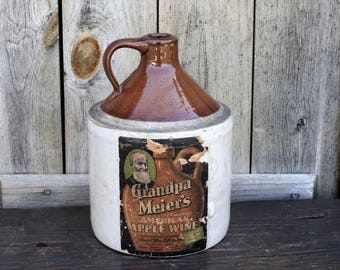 Vintage Grandpa Meier's Apple Wine Jug With Attached Label