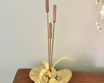 Vintage Retro Metal Sculpture,  Lily Pad and Cattails, Curtis Jere Inspired