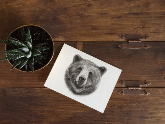 "Grizzly Bear Charcoal Drawing PRINT on 5""x7"" Card  - Woodland Animal - Birthday - Nursery - Baby Shower - Black and White - Groomsmen Card"