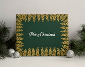 Merry Christmas Hand Lettered Canvas Art, Green and Gold // Wall Art, Wall Decor, Home Decor