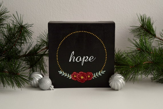Hope Hand Lettered Canvas Art, Hand Painted Canvas // Wall Art, Wall Decor, Home Decor