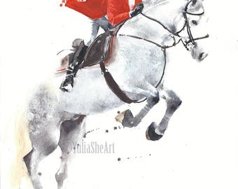Original watercolor painting horse jumping with jockey home decor wall decor kids room decor 10x13""