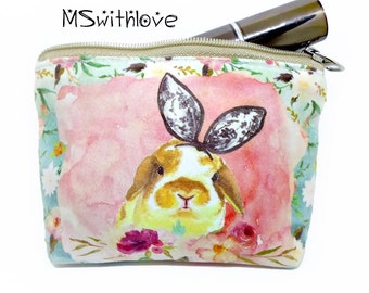 Boho Coin Purse, Bohemian Change Purse, Small Zipper Pouch, Credit Card Holder,  Bohemian Bag, Bunny Purse Bag, Small Gifts for Her