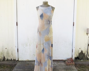 Vintage Elegant Maxi Dress- En Francais by Huey Waltzer  Abstract Design Dress with Silver Metallic accents- Size 4 NEEDS minor repair