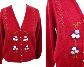 1990s Deep Red oversize sweater flower embroidery cardigan | grunge sweater loose sweater