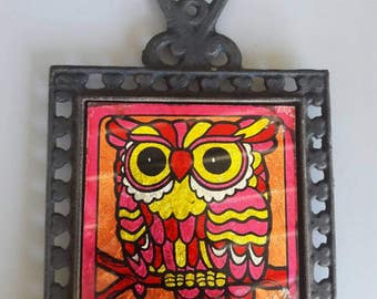 Vintage 70's Orange & Pink Owl Wall And Home Decor