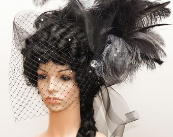 Goth / Rococo wig / Marie Antoinette wig / Gothic wig with feather headdress
