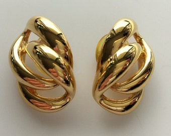 Vintage Napier Gold Tone Post/Stud Earrings - Costume Jewelry Excellent Condition