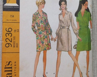 Wrap-Around Dress with Collar and Sleevebands in Size 12 Complete Uncut 60s Vintage McCall's Sewing Pattern 9236