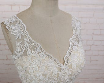 Deep V Neckline Lace Wedding Dress with Ribbon Ivory Chiffong A Line Wedding Dress