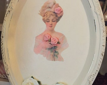 Shabby Chic Ivory Oval Metal Tray HARRISON FISHER Girl Roses 3D Art Peach Roses White Paper Flowers Wall Plate Decor Victorian Style Ooak