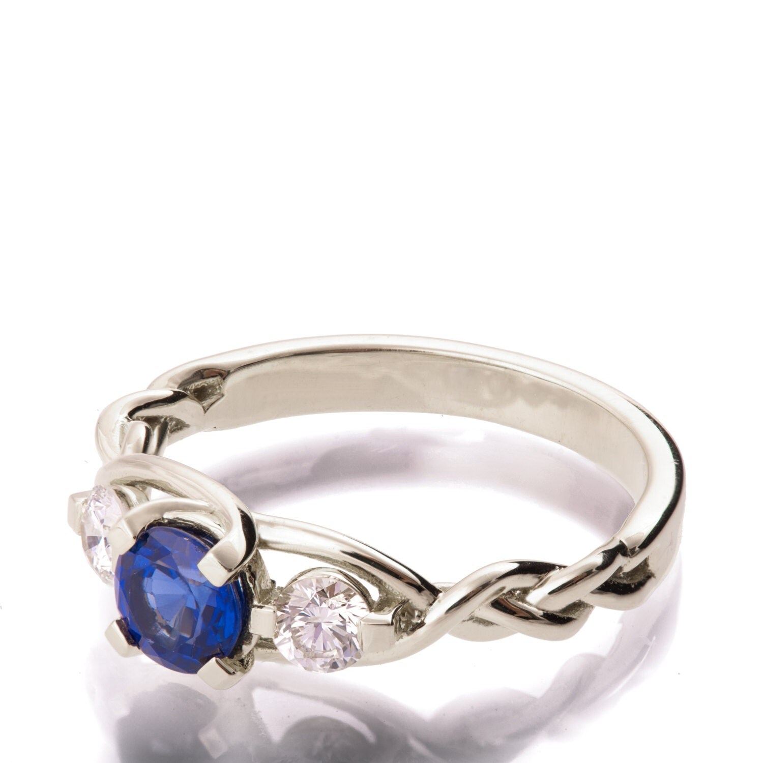 Braided Engagement Ring Sapphire and Diamond engagement ring