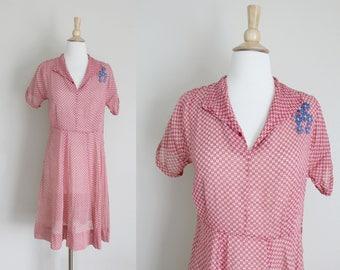 1940s Dress   Shirtwaist Dress   Sheer Day Dress   Red Dress   Checkered Dress   Embroidered Dress   Small