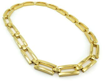 Vintage Chain Link Necklace, Gold Tone