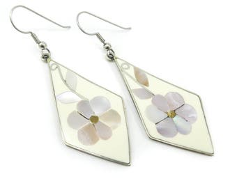 Vintage Mexico Flower Earrings, Mother of Pearl, Cream Enamel, Dangles, Hooks, Nickel Silver