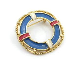 Vintage Life Preserver Brooch, Blue Red White, Enamel, Gold Tone