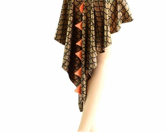 Holographic Dragon Tail Skirt in Gold Scale with Orange Sparkly Jewel Spikes & Hi Lo Hemline 154100