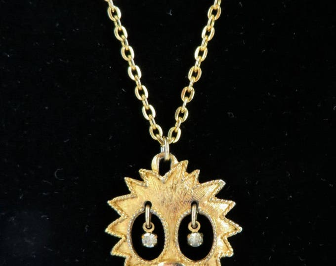 Lion Pendant Vintage Gold Tone Lion Rhinestone Eyes Necklace Costume Jewelry FREE SHIPPING