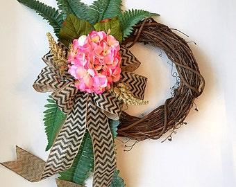 pink hydrangea wreath, wreath for door, spring wreath, front door wreath, door wreath, wreaths, weath