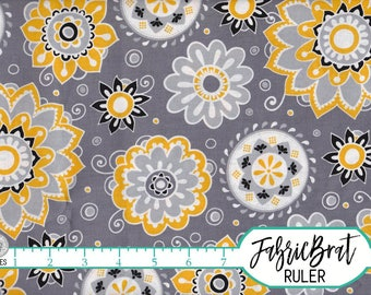 MUSTARD YELLOW and GRAY Fabric by the Yard Fat Quarter Modern Suzani Floral Fabric 100% Cotton Quilting Fabric Apparel Fabric Yardage a4-29
