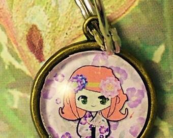 Kokeshi Doll Keychain - Kawaii Key Ring - Under 10 Gift - Japan Accessory - Purse Charm - Bag Charm - Kawaii Gift - Geisha - Shojo - chibi
