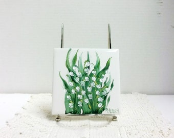 Ceramic Tile, White, Hand Painted, Lily of the Valley, Garden Flowers, Garden Design, Decorative Tile, Tile Coaster, Wall Art, Wall Decor.