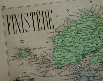 Finistère old map of Finistere departement - 1874 beautiful antique hand-colored poster about Quimper Brest Concarneau - vintage maps France