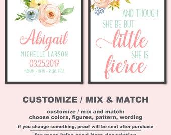 Boho girl nursery art Birth Date Print, Floral baby girl room decorations, floral she is fierce boho chic Birth Stats art PRINT/CANVAS/DIGI
