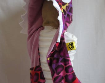 Monster Hood - Kid Size - purple giraffe with lilac lining