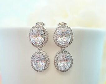Oval CZ Earrings, Oval Bridal Earrings, Cubic Zirconia, Oval Earrings, Silver Bridal Jewelry, Maid of Honor, Wedding Earrings, Bride, E2165