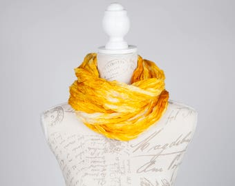 Golden boho scarf / girlfriend gift scarf / yellow gold silk scarf gift for her  /  ruffled yellow silk scarf / silk scarf gift for mom