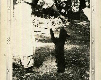 Vintage Photo..Feeding Bear Cub, 1930's Original Found Photo, Vernacular Photography