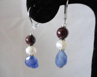 A gorgeous Garnet Tanzanite Pearl Earrings****.