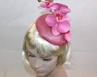 Rose Pink Fascinator Rose Pink Orchid Fascinator Hat for wedding pink hat pink races hat Kentucky Derby Hat Pink Wedding Hat Ascot Hat
