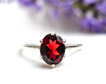 Natural Oval Cut Garnet Ring in 925 Sterling Silver *Free Worldwide Shipping*