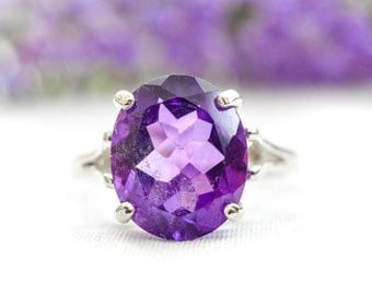 Natural Amethyst Oval Ring with 925 Sterling Silver *Free Worldwide Shipping*