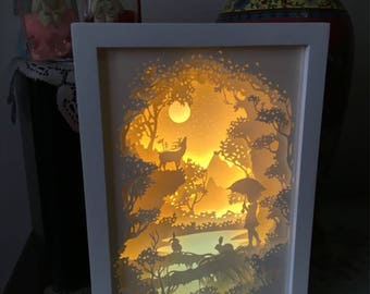 Forest Tale Handmade Paper Craft 3D Night Light Shadow Box Artwork Frame Decoration