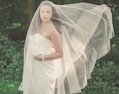 wedding veil, drop veil, circle veil, bridal veil, long veil, english net veil, blusher veil, soft tulle veil, simple veil - GOSSAMER