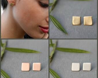 Gold Stud Earrings, Dainty Gold stud Earrings, Gold Square stud Earrings, Simple Earrings, gold square earrings, nickel free earrings