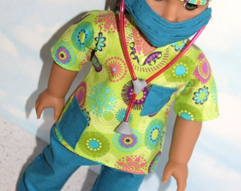 18 Inch Doll (like American Girl) Teal and Green Multi-Color Floral Print Hospital Scrubs with Stethoscope (5 piece set)