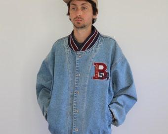 BUM Denim Varsity Snap Jacket Oversized Large