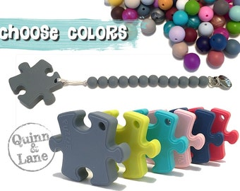 Silicone Teething Pacifier Clip with Puzzle Teether - Bite Beads Soother Clip Baby Toy - Chew Toy - Autism Awareness - You Choose Colors